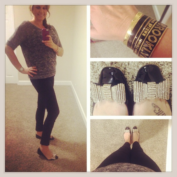 Sweater: Forever 21; Jeans: Celebrity Pink Jeans; Bracelets and Flats: Kate Spade New York