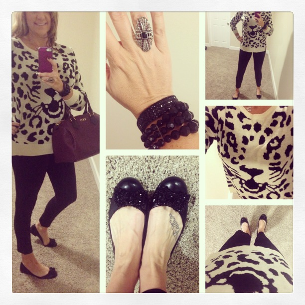 Sweater: Exhilaration for Target; Flats: Marc Fisher; Ponte Pant: Celebrity Pink Jeans; Bracelets: Forever 21; Ring: Vintage; Handbag: c/o Gigi New York