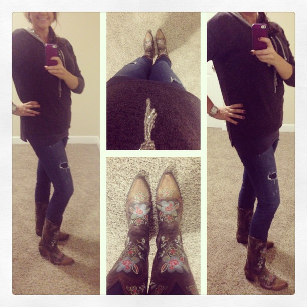 Sweater: Aniche Boutique; Jeans: Celebrity Pink Jeans; Boots: Old Gringo Boots; Necklace: Handmade by Crystal Bascia