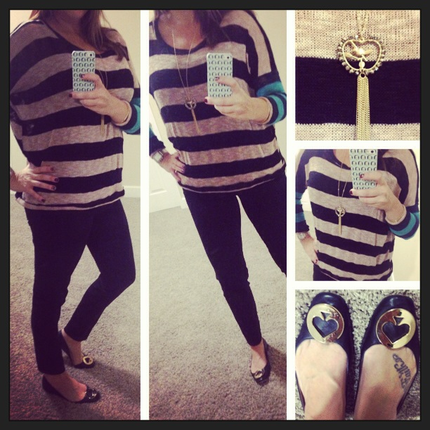Sweater: c/o Vintage Havana; Jeans: Celebrity Pink Jeans; Flats: Kate Spade New York; Necklace: Forever 21