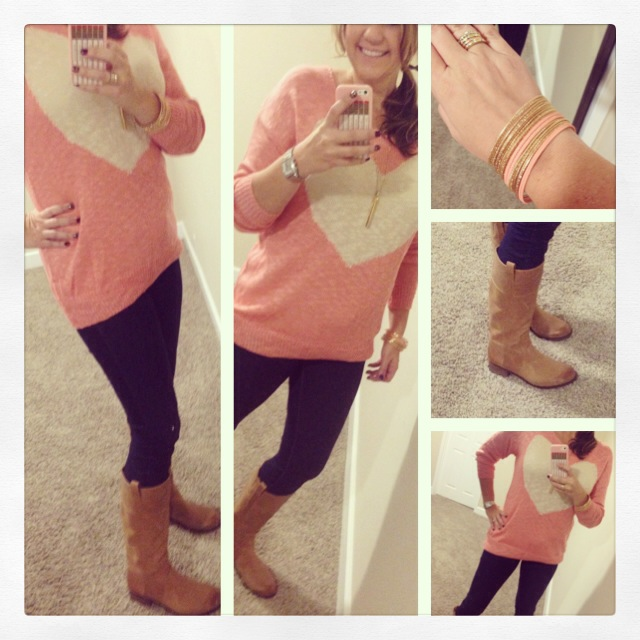 Sweater: G Stage; Jeans: Forever 21; Boots: Lucky Brand; Bangles: Forever 21; Hair Tye: C/O Goody; Earrings: My own