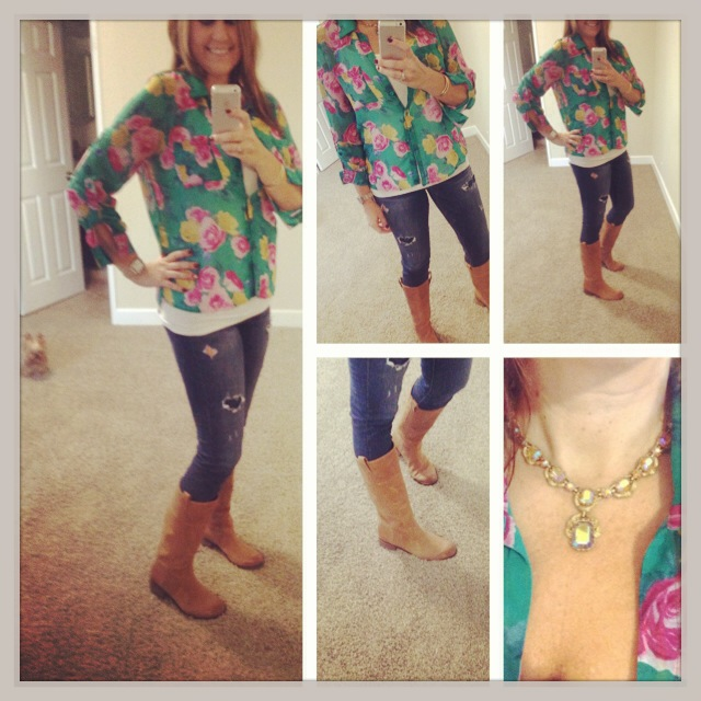 Blouse: Forever 21; Tank: Target; Jeans: American Eagle; Boots: Lucky; Necklace: Vintage; Watch: Michele; Earrings: Euro Art Jewelers