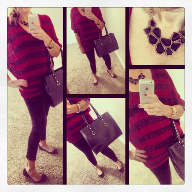 Sweater: Forever 21; Leggings: Celebrity Pink; Flats: Marc Fisher for Macy's; Bag: c/o Emile; Necklace: Forever 21;