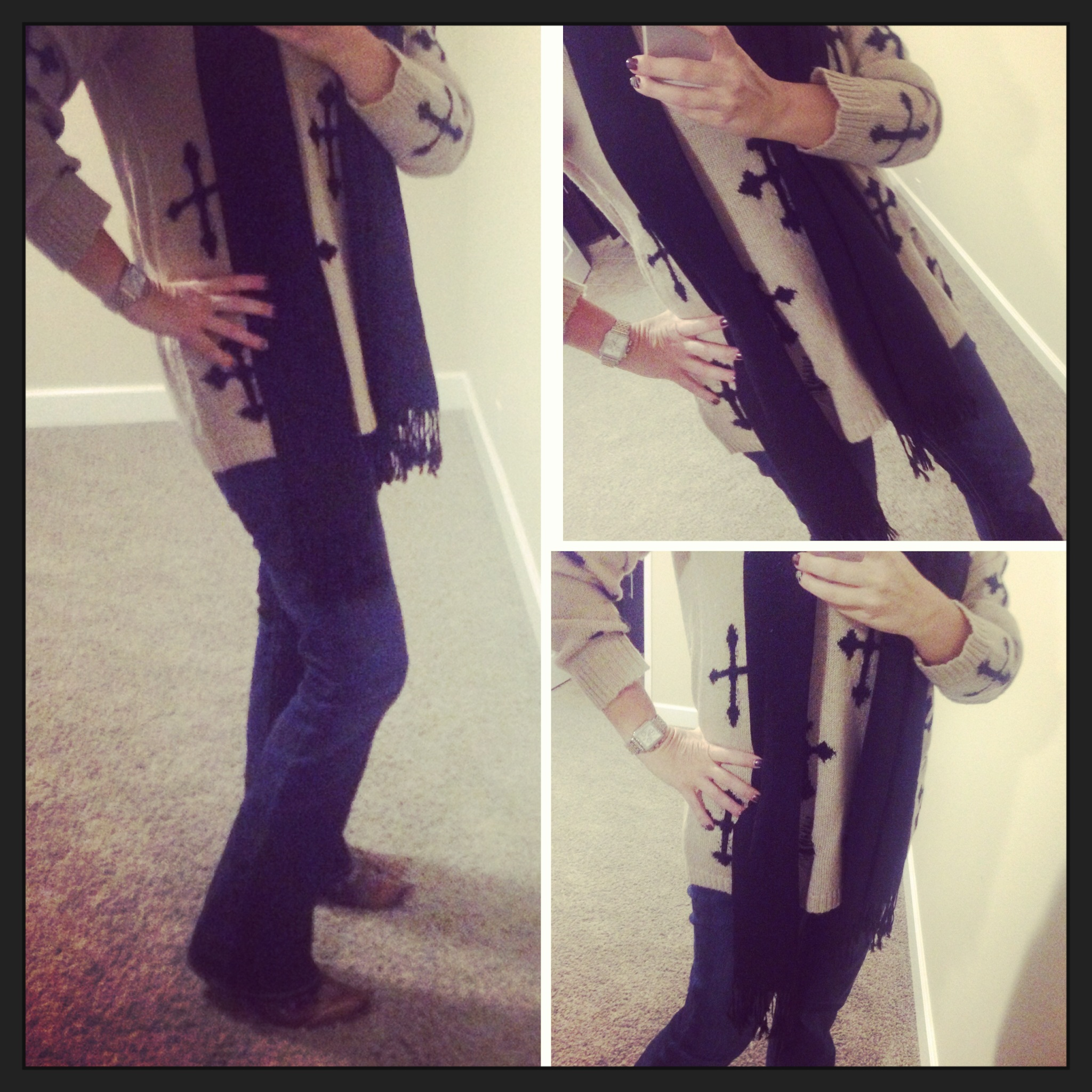 Sweater: Forever 21; Tank: Aniche Boutique; Scarf: Pashmina; Boots: Old Gringo; Watch: Michele