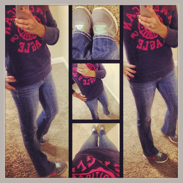 Sweatshirt: American Eagle; Shoes: Nike; Jeans: Miss Me Jeans; Watch: Michele