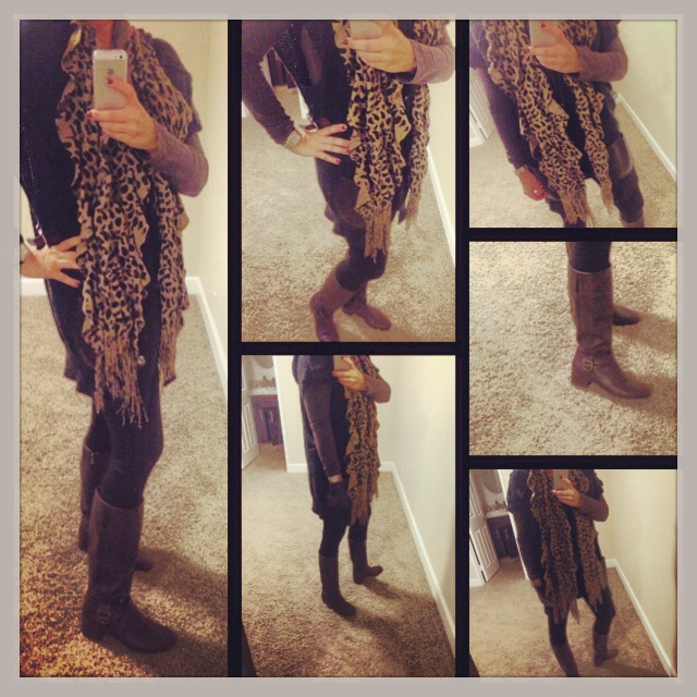 Sweater: Miss Me Jeans; Shirt: Nordstrom Rack; Leggings: Celebrity Pink; Boots: Bandolino; Scarf: Macy's;
