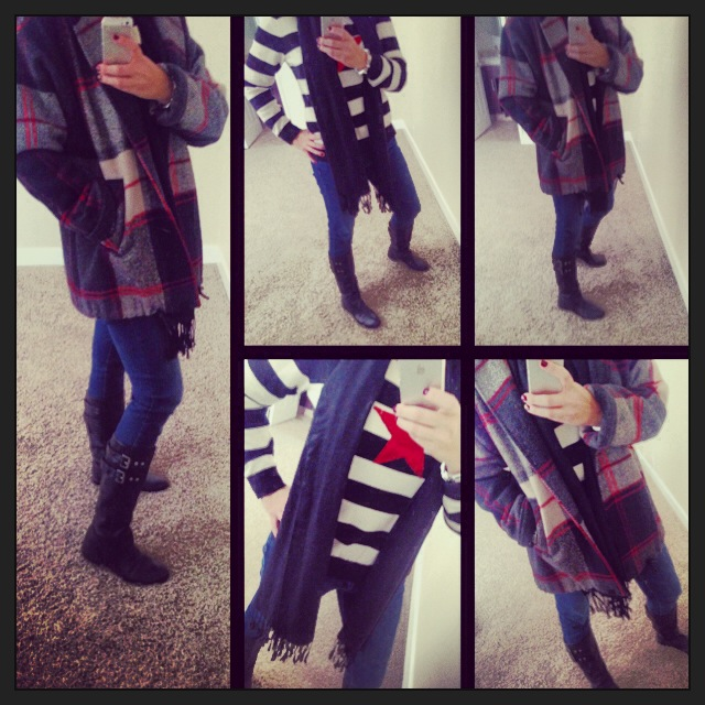 Jacket: Macy's; Sweater: Tilfiger; Scarf: Pashmina; Boots: Nine West; Jeans: Celebrity Pink; Watch: Michele