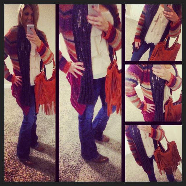 Sweater: Purchased at a boutique in Golden, CO; Tank: LC for Kohls; Jeans: Southern Thread; Bag: c/o Bijuju handbags;
