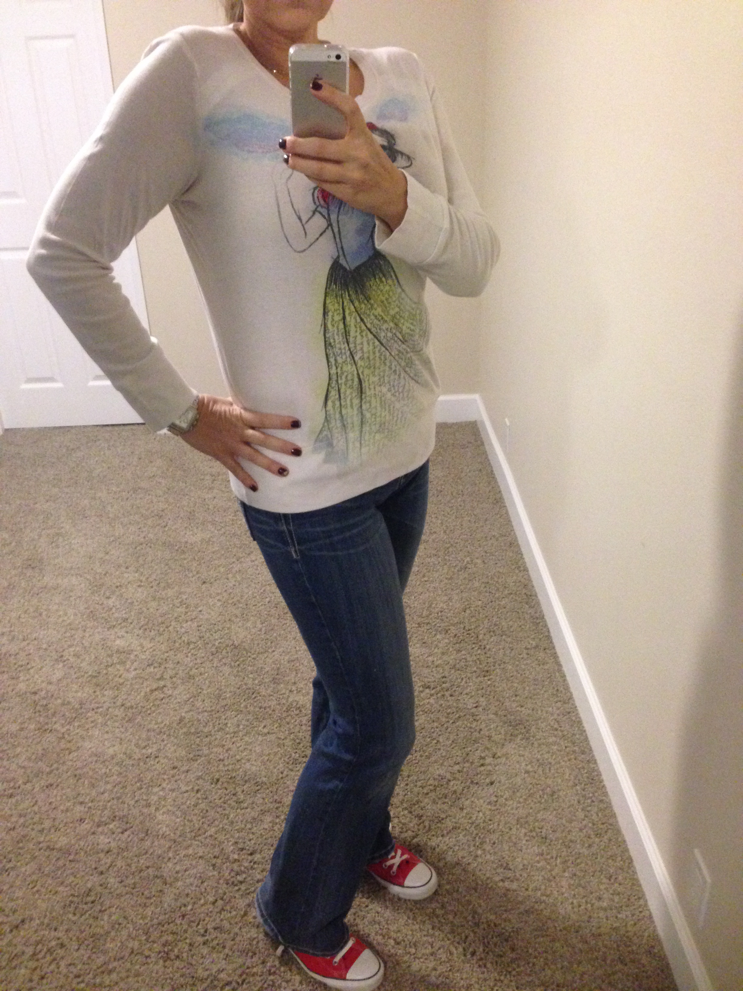 Shirt: Disneyland; Jeans: Miss Me Jeans; Shoes: Chuck Taylors by Converse; Watch: Michele