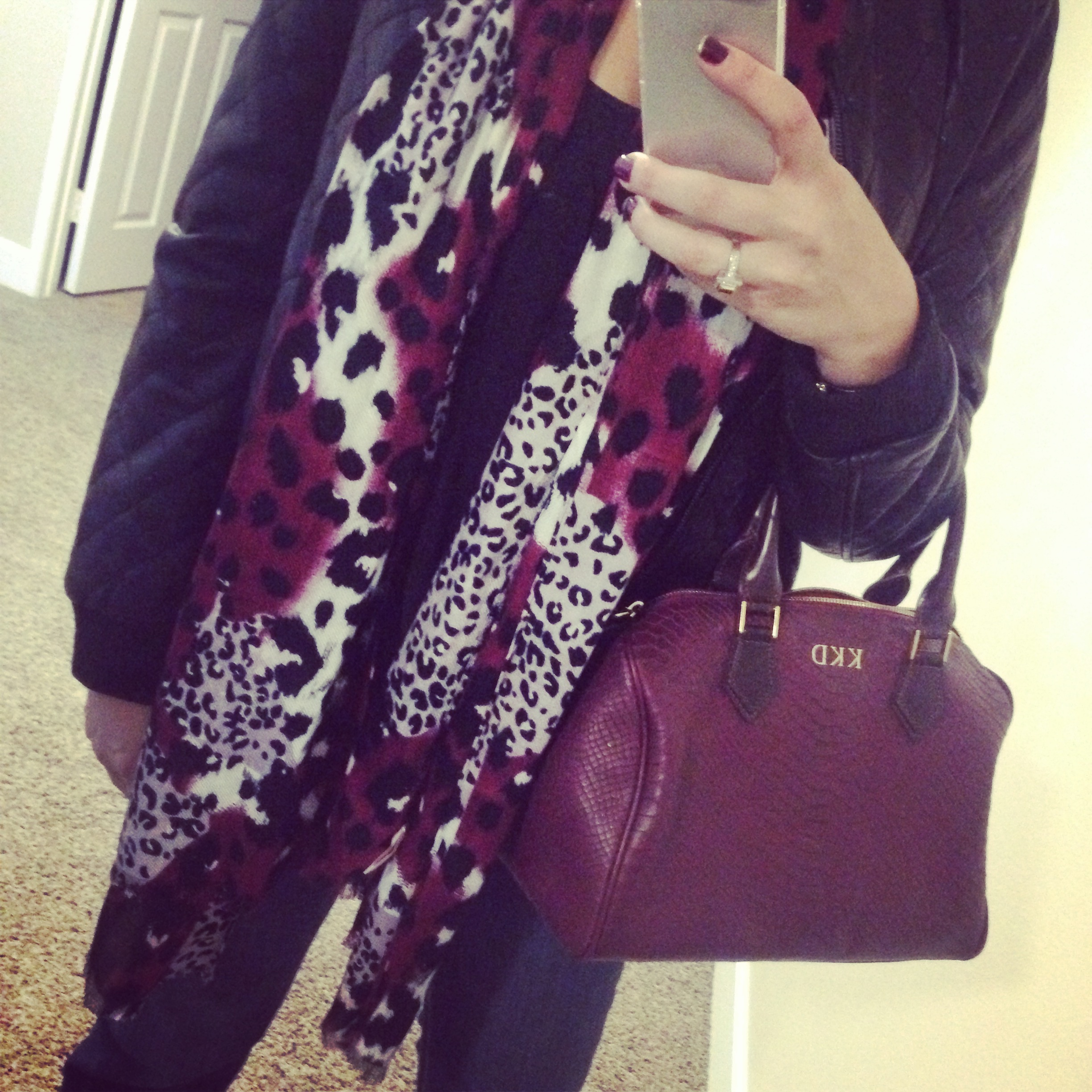 Blouse: Wayf; Scarf: Nordstrom Rack; Jacket: Forever 21; Jeans: Southern Thread; Ring: Euro Art Jewelers; Boots: Ariat by Country Outfitter; Bag: Gigi New York