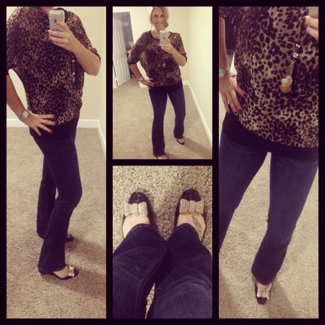Blouse: Forever 21; Jeans: Hudson; Flats: Kate Spade New York; Necklace: Crystal Basica