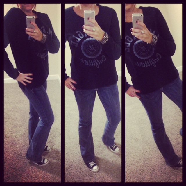 Sweatshirt: American Eagle; Jeans: Miss Me; Shoes: Chuck Taylors by Converse