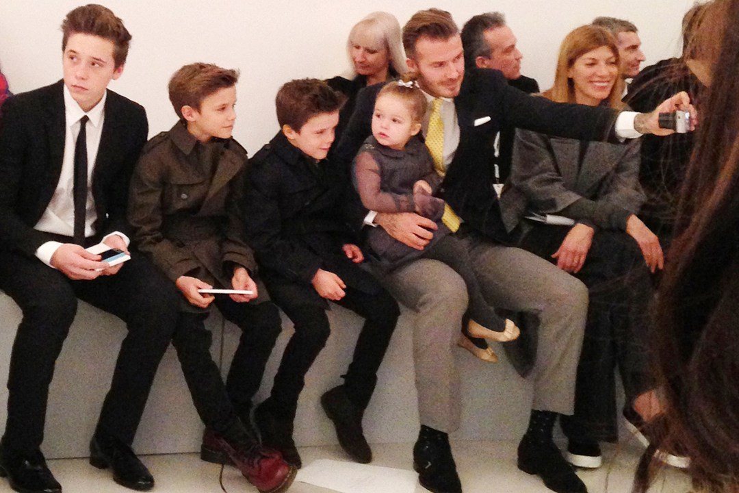 Victoria Beckham show - February 9 2014 Brooklyn, Romeo, Cruz, Harper and David Beckham.