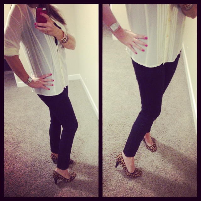 Blouse: Forever 21; Tank: Envy Me; Jeans: Celebrity Pink; Pumps: Merona for Target;