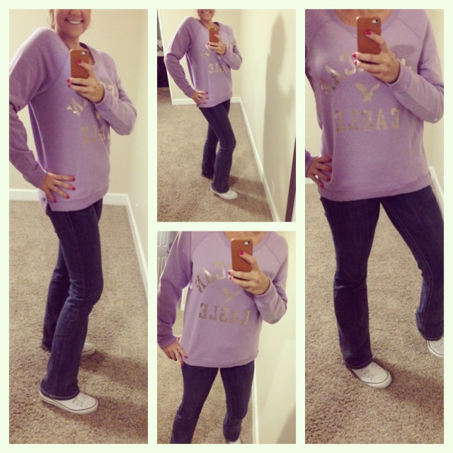 Sweatshirt: American Eagle; Jeans: Miss Me; Shoes: Chuck Taylors for Converse