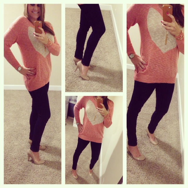 Sweater: G Stage; Jeans: Celebrity Pink; Pumps: Nine West for Macy's;