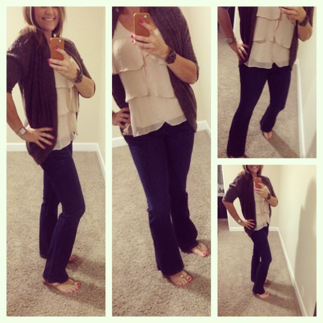 Cardigan Sweater: Aniche Boutique; Tank: LC by Lauren Conrad for Kohls; Jeans: Hudson; Sandals: Tory Burch;