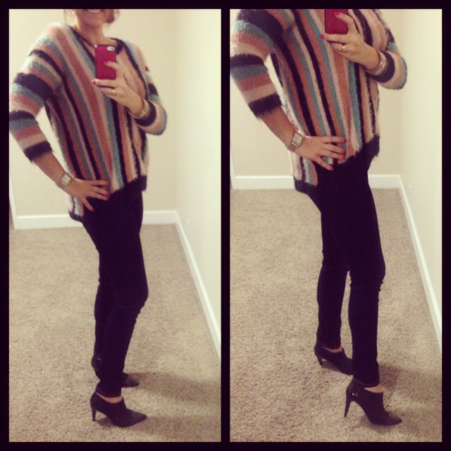 Sweater: c/o Oasap; Jeans: Celebrity Pink; Booties: c/o Dana Buchman for Kohls; Necklace: Stella and Dot; Watch: Michele