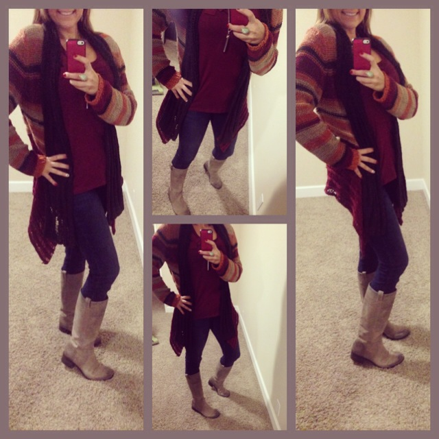 Sweater: Boutique in Colorado; Tank: Lauren Conrad for Kohls; Jeans: Celebrity Pink; Boots: Lucky Brand; Watch: Michelle