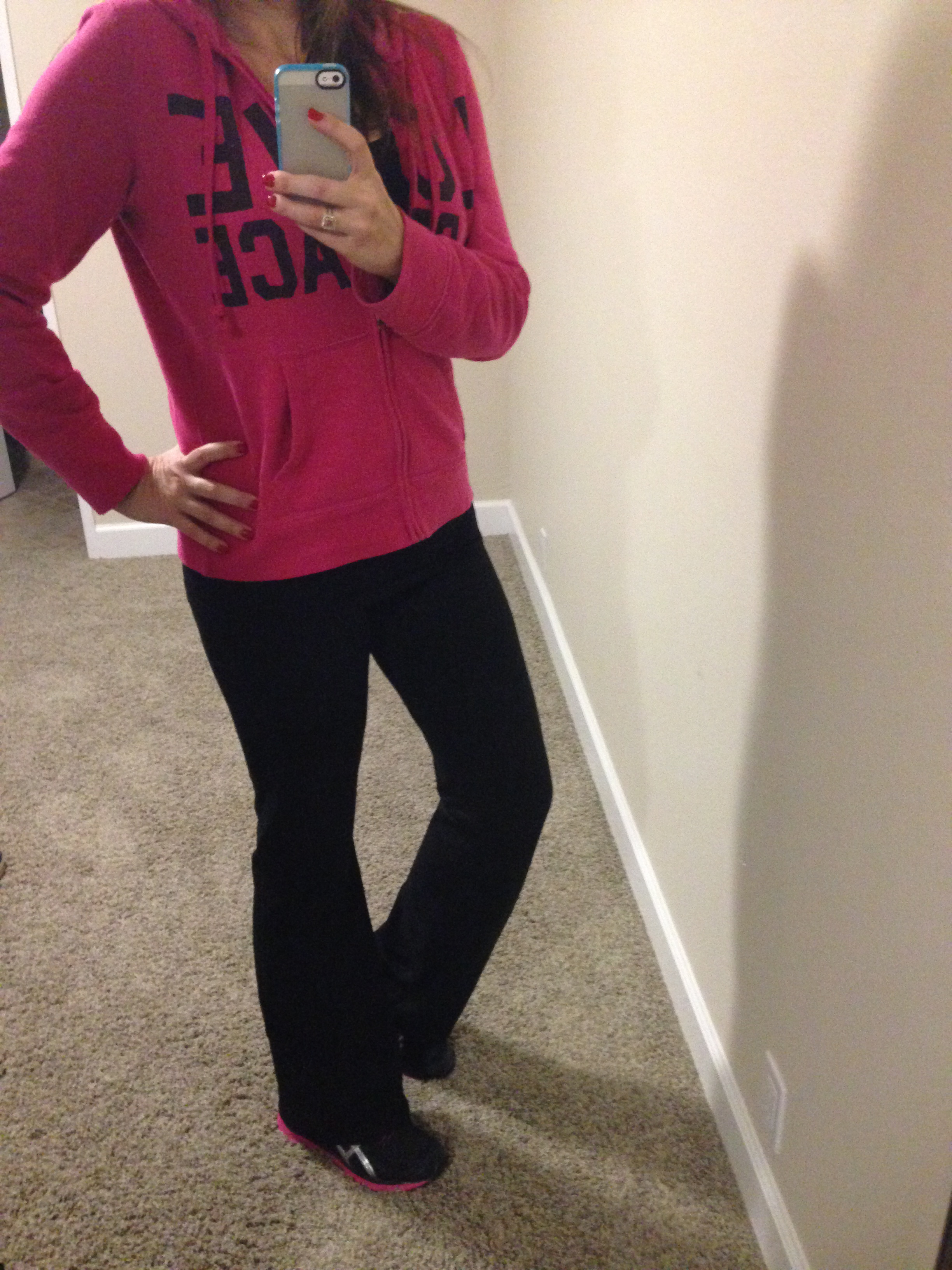 Sweatshirt: Xhilaration for Target; Pants: Victoria's Secret; Shoes: Asics; Watch: Michele