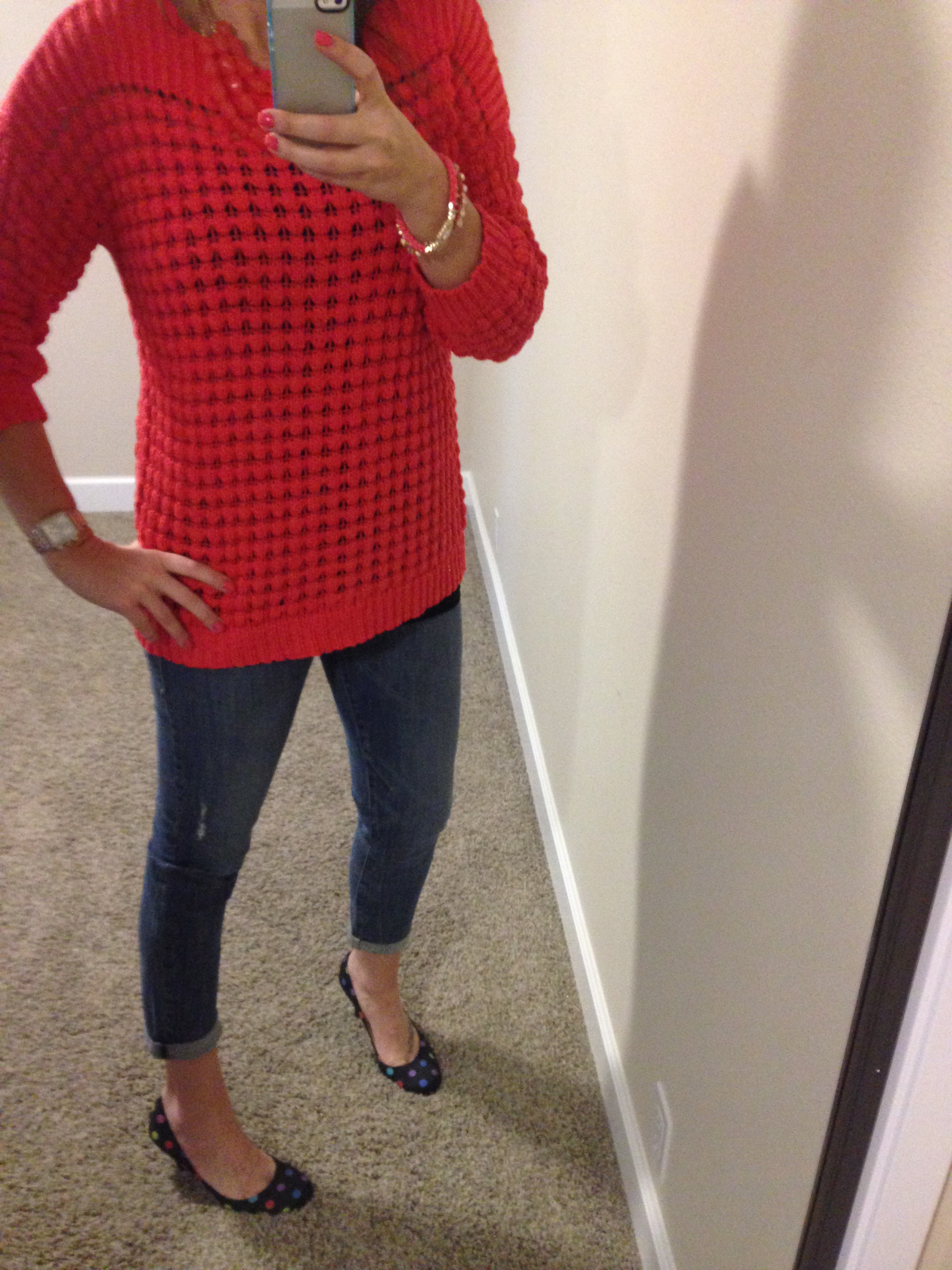 Sweater: Apt. 9; Jeans: Rock & Republic; Pumps: Nine West; Jewelry: Forever 21; Watch: Michele