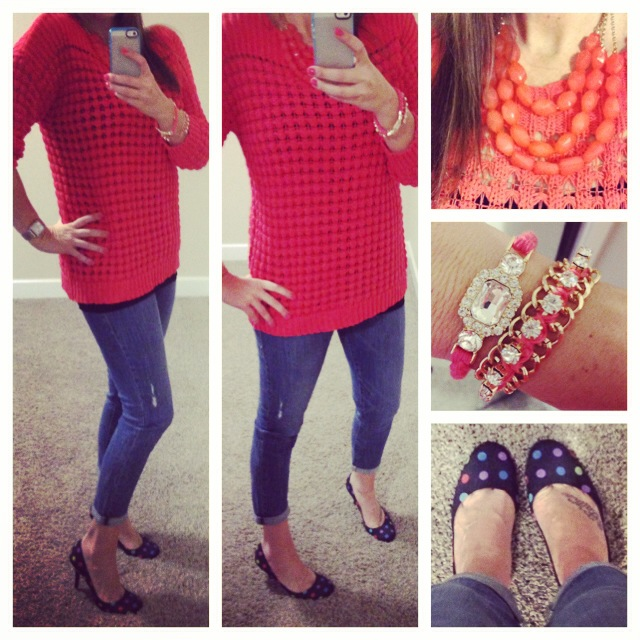 Sweater: c/o Kohls Apartment 9; Jeans: c/o Kohls Rock & Republic; Pumps: Nine West; Bracelets and Necklace: Forever 21; Watch: Michele