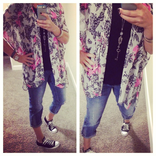 Kimono: Lush (Nordstrom Rack); Boyfriend Jeans: Miss Me Jeans (Buckle); Shoes: Converse Chuck Taylor's (c/o Kohl's); Necklace: Crystal Basica; Bangles: Forever 21; Top: Forever 21