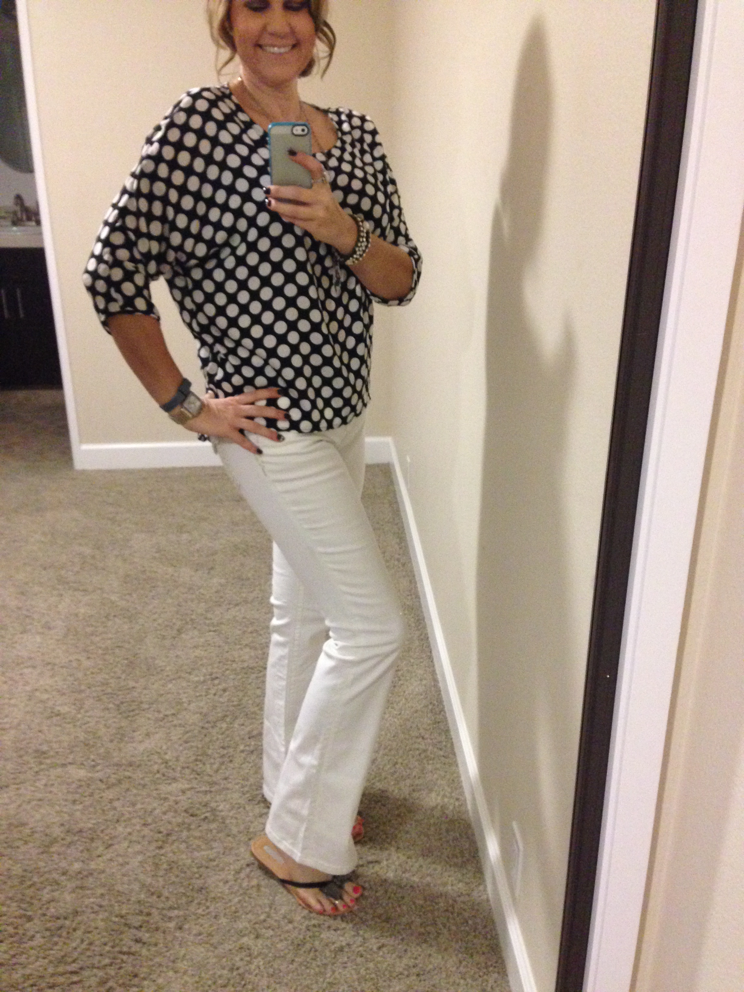 Spring means polka dots! Blouse: Bobeau (Nordstrom Rack); Jeans: Miss Me (Macy's); Sandals: INC (Miss Me); Necklace: Crystal Basica; Watch: Michele;