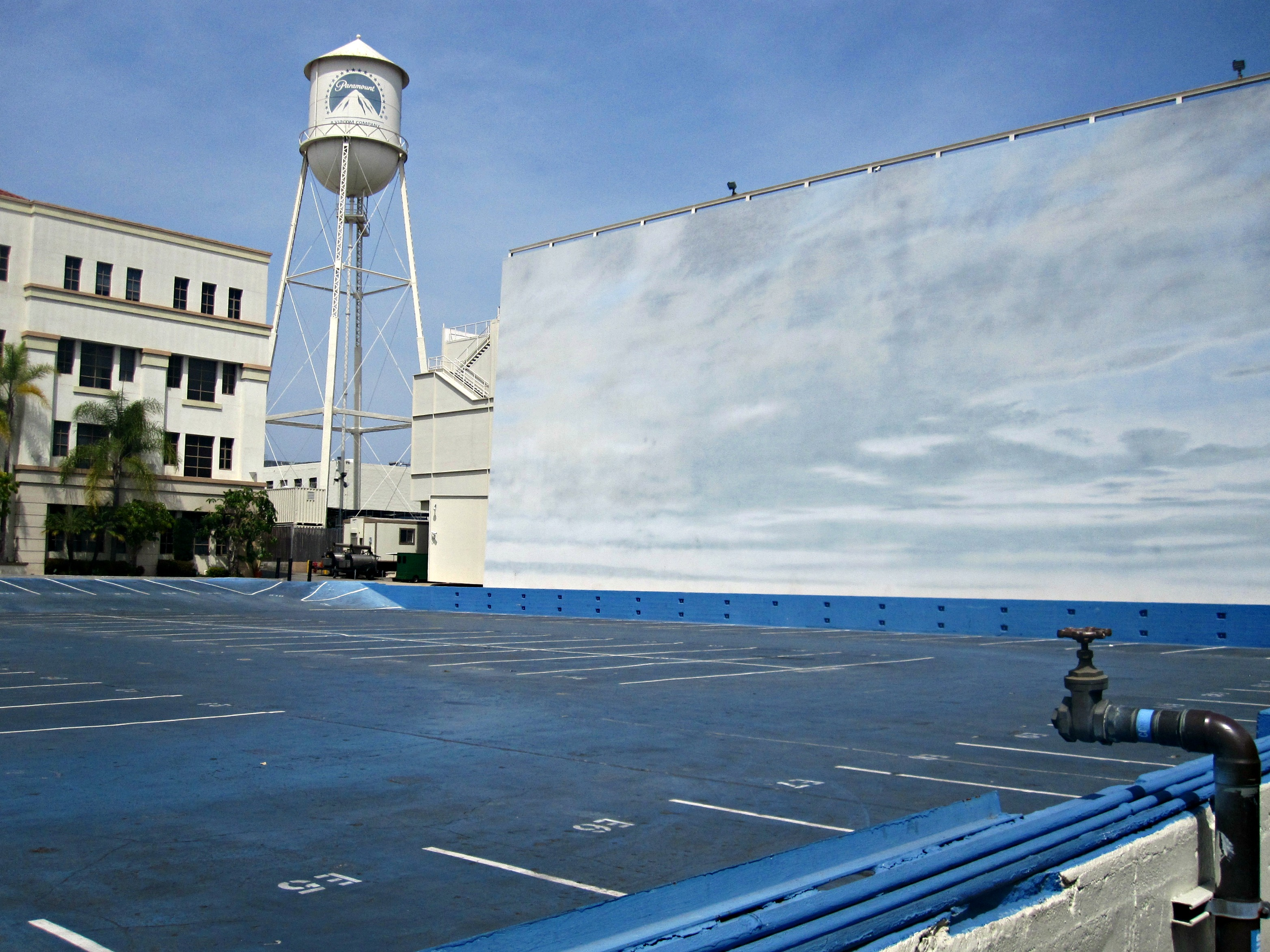 This tank (parking lot) is often filled with water, the background is changed and water scenes are filmed here.  The water scene from The Curious Case of Benjamin Button was filmed here.