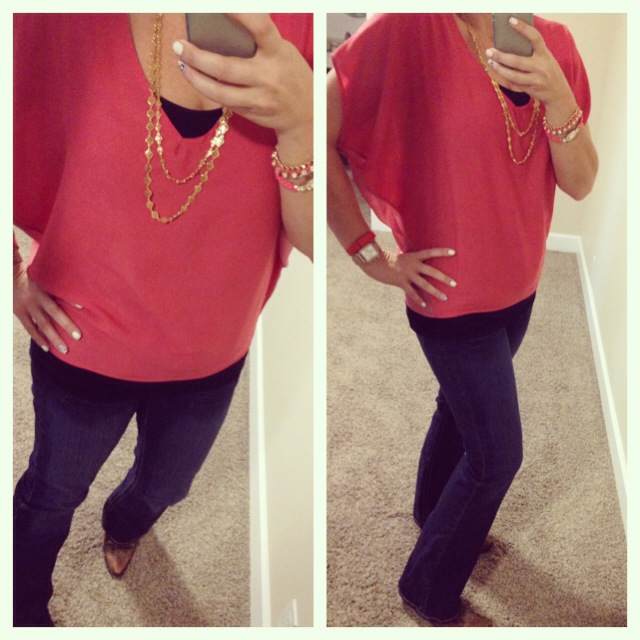 Blouse: Nectar Clothing; Tank: Envy Me; Jeans: Southern Thread for Boot Barn; Boots: Old Gringo; Necklace: c/o Stella and Dot; Necklace: Forever 21; Watch: Michele; Tracker: Fitbit; Bag: c/o Stella and Dot