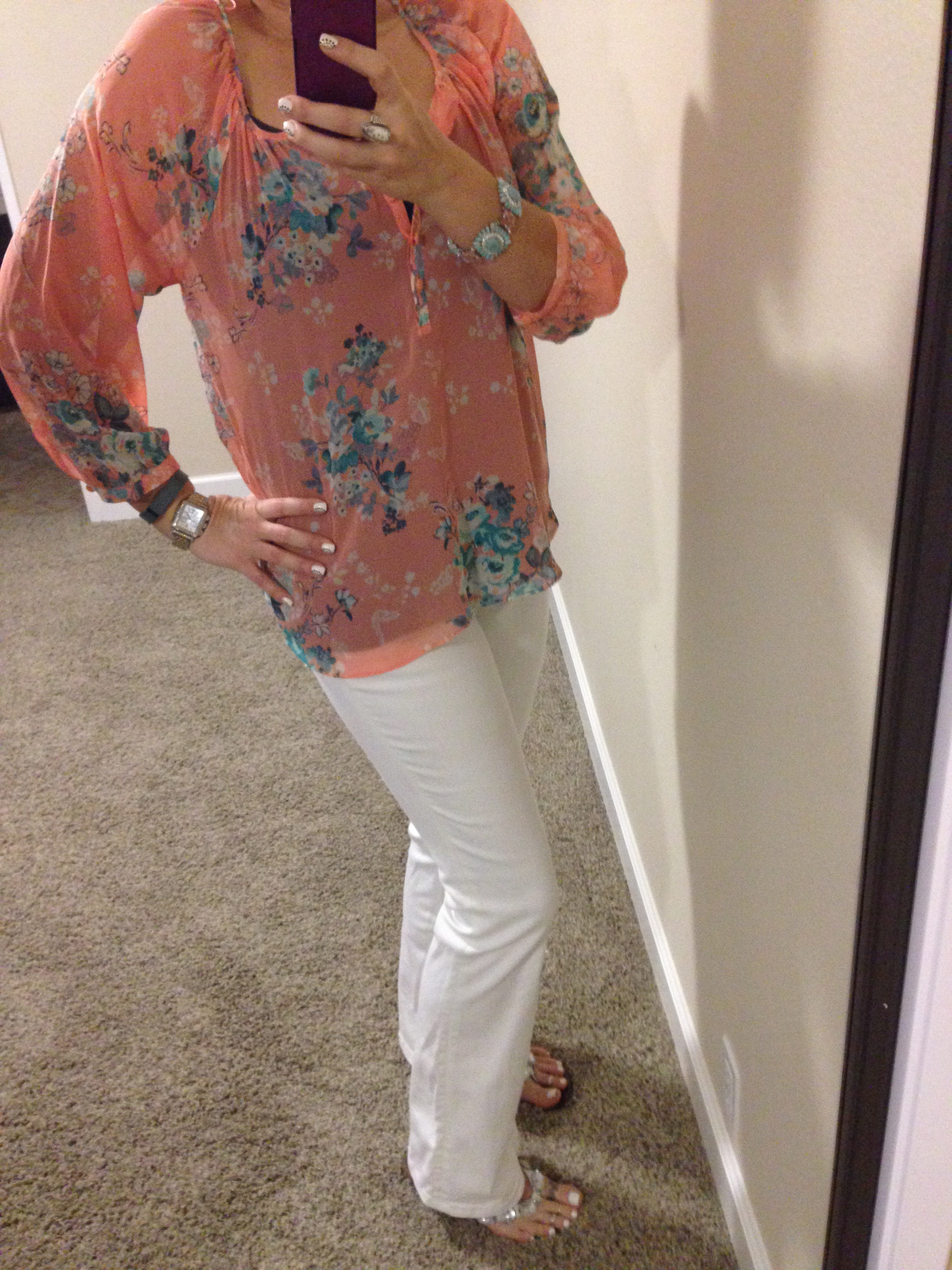 Blouse: c/o Kohls; Tank: Envy Me; Jeans: Miss Me; Flip Flops: Nordstrom (old); Bracelet: c/o Carolee; Watch: Michele; Tracker: Fitbit; Earrings: Euro Art Jewelers