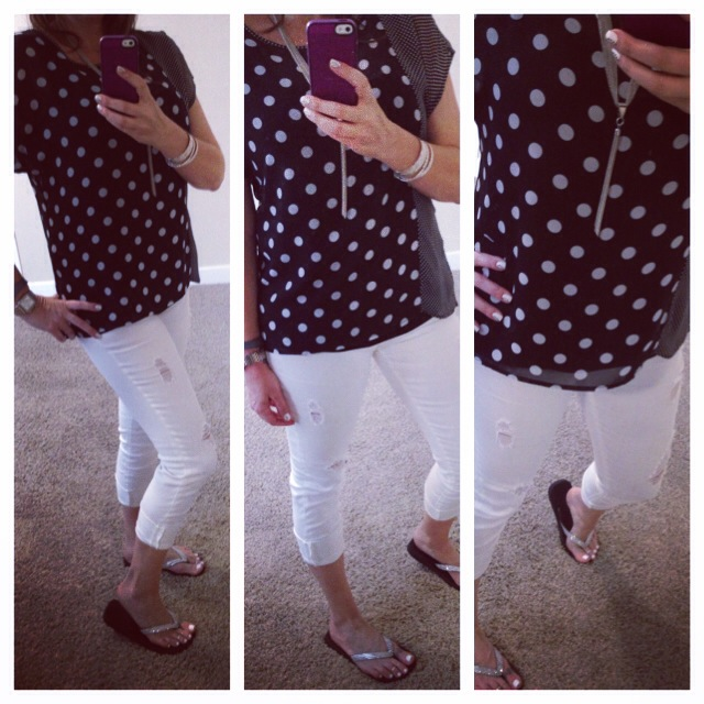 Blouse: Bobeau for Nordstrom; Tank: Envy Me Fashions; Jeans: Celebrity Pink; Sandals: Lori Jack; Necklace: