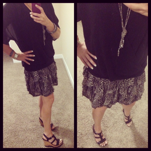 Blouse: Wayf for Nordstrom; Tank: Envy Me Fashions; Skirt: INC for Macy's; Sandals: Franco Sarto; Necklace: Urban Outfitters; Watch: Michele; Tracker: Fitbit; Bracelet: Aniche Boutique