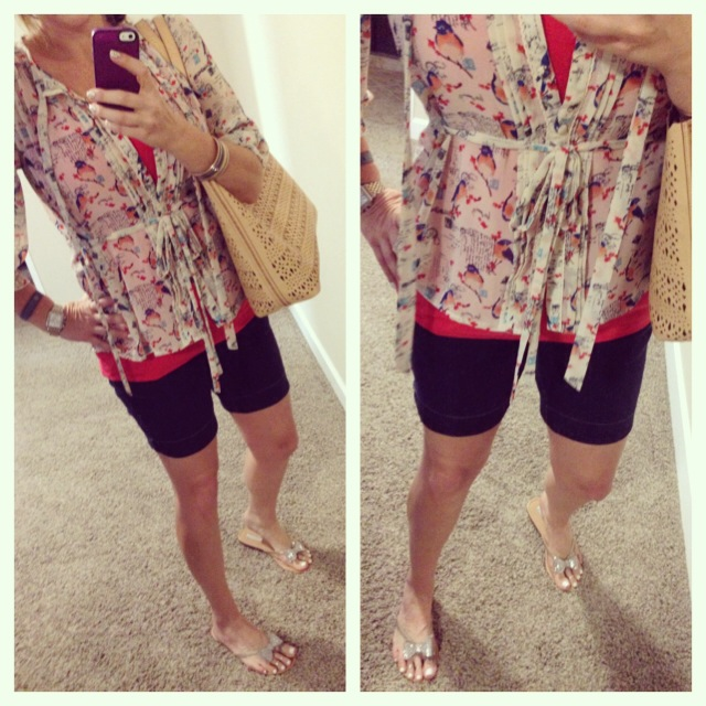Blouse: purchased at boutique in CO (old); Tank: Merona for Target; Shorts: c/o Elle for Kohls; Sandals: INC for Macy's; Bag: c/o Stella and Dot; Watch: Michele; Tracker: Fitbit