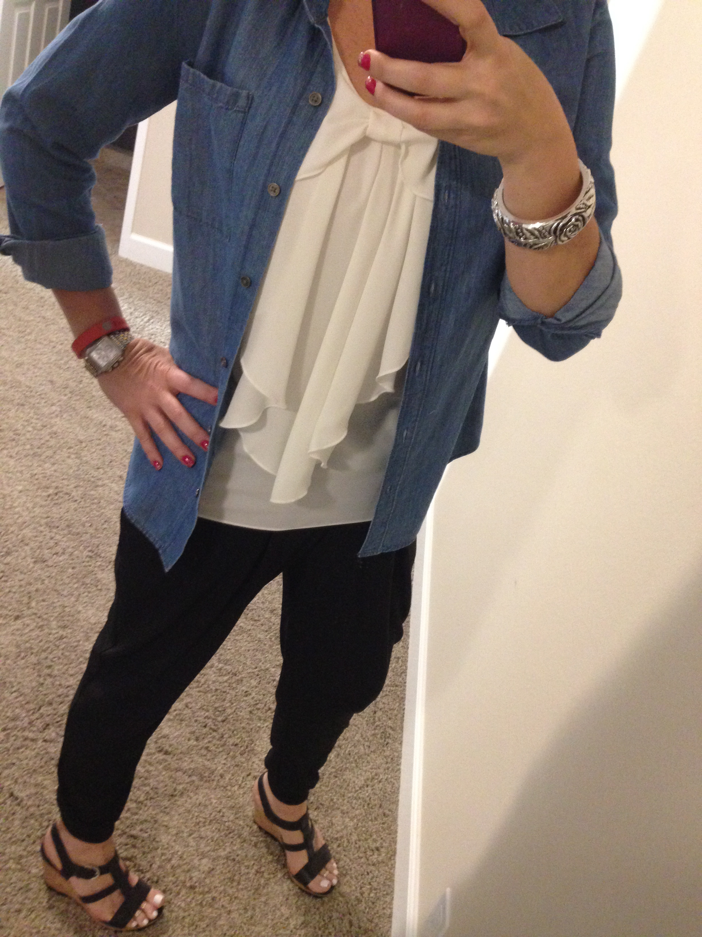 Denim Shirt: c/o Apt 9 for Kohls; Tank: c/o Apt 9 for Kohls; Harem Pants: Bobeau for Nordstrom; Sandals: Franco Sarto for Macy's; Bracelet: old--Similar; Watch: Michele; Tracker: Fitbit