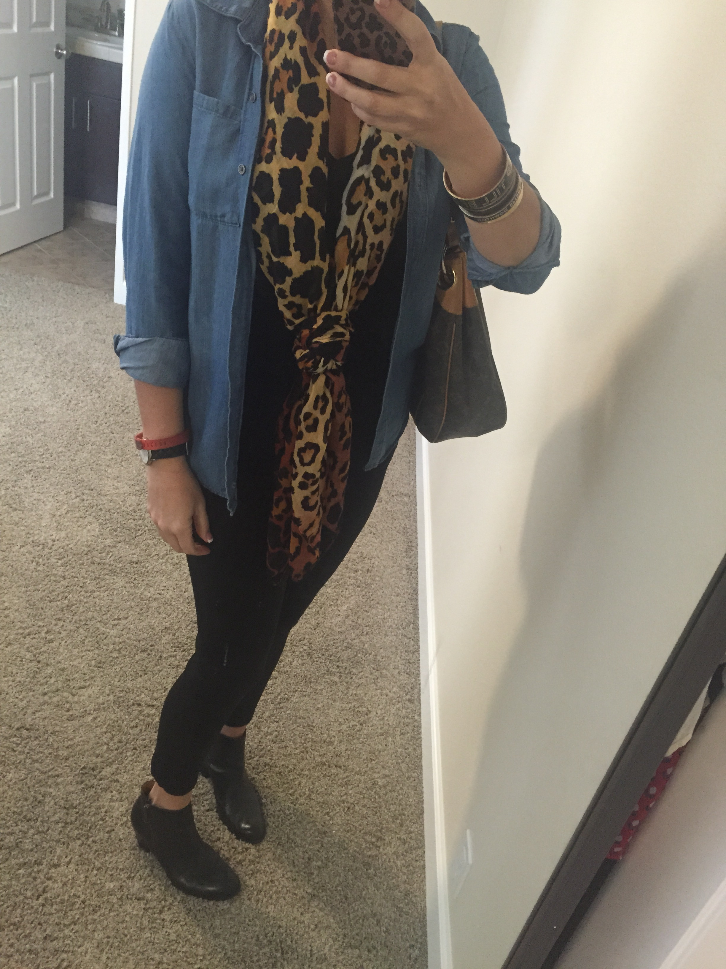 What I'm Wearing–Denim With a Bit of Leopard