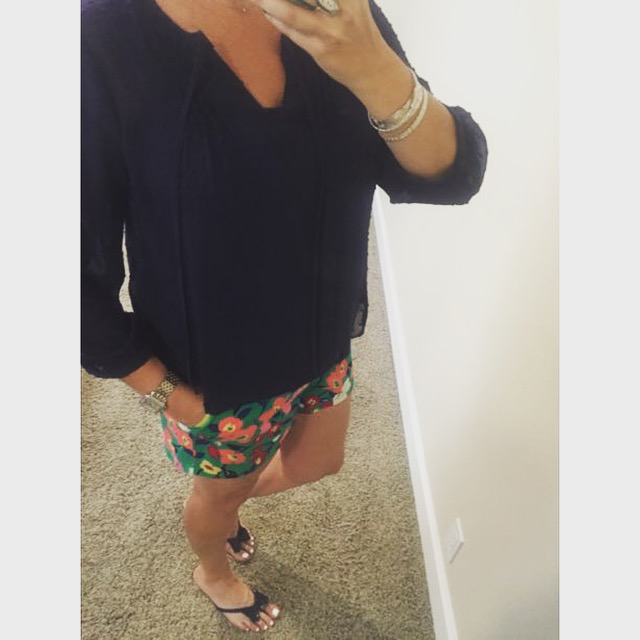 Blouse and shorts: c/o Kohls//Sandals: Macys//Bangles: My Own//Watch: Michele