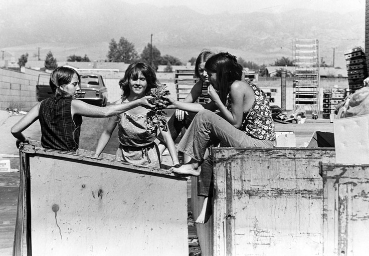 """Some of the girls from """"The Family"""" dumpster diving."""