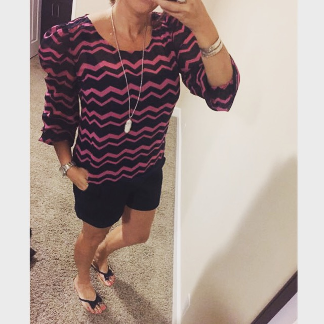 Blouse: Target//Shorts: c/o Kohls//Sandals: Macy's//Necklace: Kendra Scott//Watch: Michele//Bangles: My own