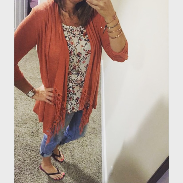 Cardigan: Nordstrom Rack//Blouse: Nordstrom Rack//Jeans: Nordstrom//Sandals: Lori Jack//Watch: Michele