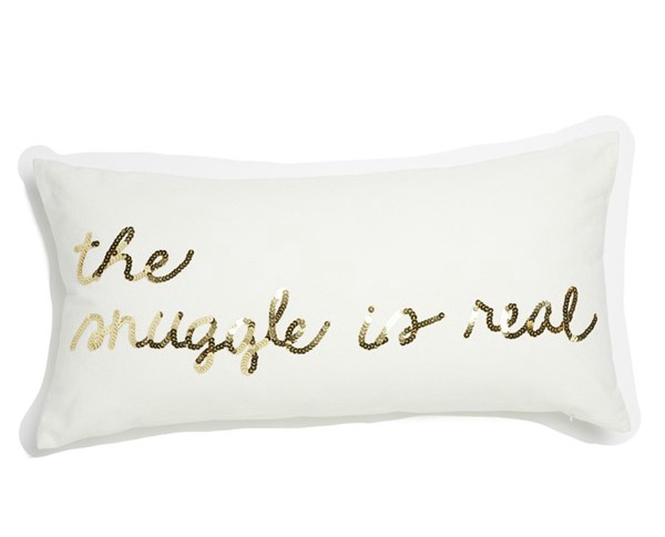 "Bow & Drape ""The Snuggle is Real"" Sequin Pillow $39"