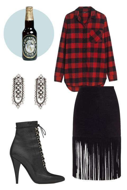 CRAFT BEER The Perfext Black Suede Fringe Mimi Skirt, $570; www.avenue32.com Madewell Flannel Ex-Boyfriend Shirt in Buffalo Check, $82; madewell.com Saint Laurent Fetish 105 Lace-Up Ankle Boot, $1, 295; ysl.com Dannijo Augustine Earrings, $420; dannijo.com