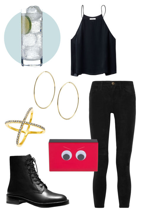 VODKA SODA Your taste in drinks is kind of basic (no judgments), so a simple but cute outfit you can put on in a dash is probably more your speed. Ashlyn D clutch, $385; ashlynd.com Aritzia Wilfred Rians Blouse, $75; us.aritzia.com Current/Elliott The Stiletto Mid-Rise Suede Skinny Jeans $399; theoutnet.com Coach Eddison Boot, $229; coach.com Bauble Bar Crystal Mason Ring, $32; baublebar.com Sarah Chloe Classic Hoop Earrings, $325; sarahchloe.com