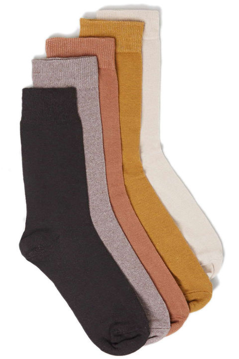 Topman Brown Plain 5 Pack Socks, $20; topman.com