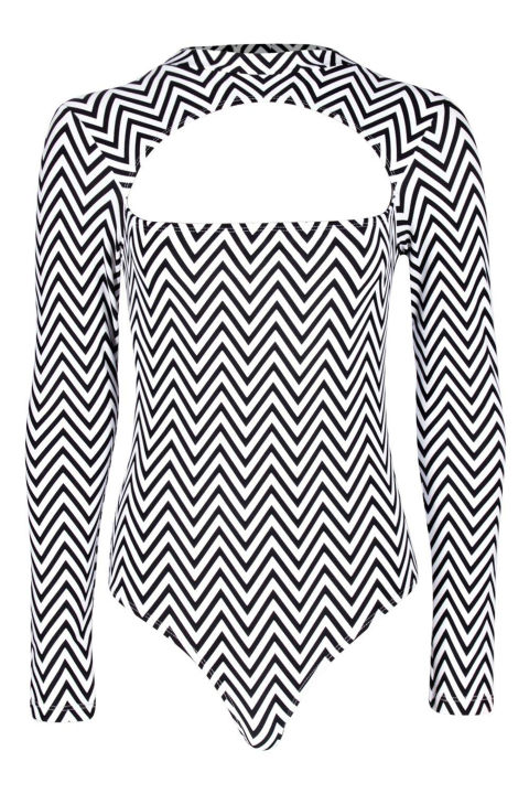 Boohoo Rio Zig Zag Cut Out Long Sleeve Swimsuit, $35; boohoo.com
