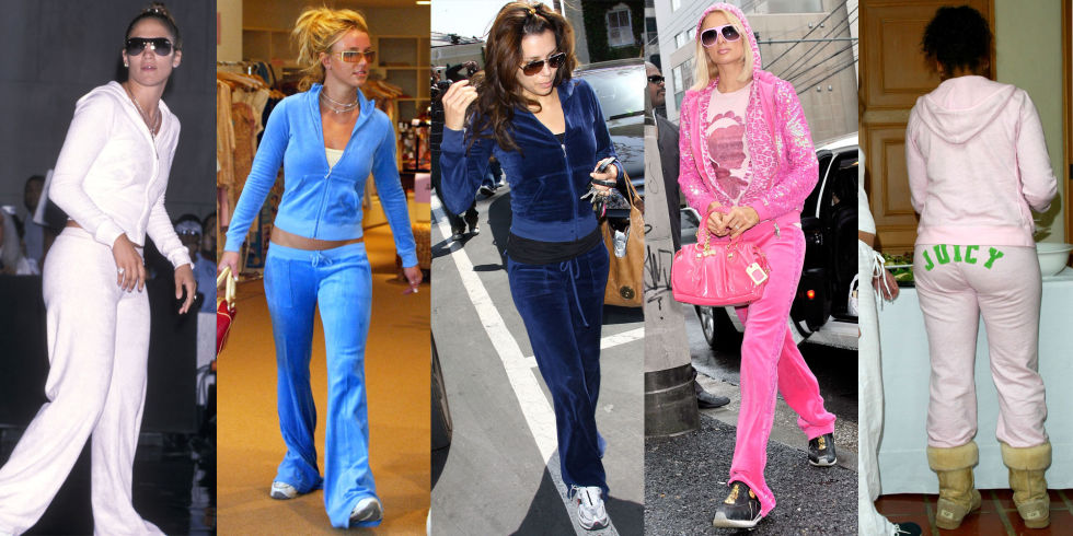 "2000's -- The Velour Tracksuit. Spearheading this time of bad sartorial decisions was the ubiquitous velour tracksuit. Everyone and their mother (literally) had a tracksuit to style with a cami underneath and a logo bag in tow. Bonus points if you had a pair with the word ""Juicy"" across the butt--super chic."