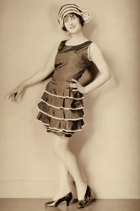 1920's -- Bathing Suit Dresses. Props to all the women who managed to stay afloat whilst swimming in these taffeta dresses.