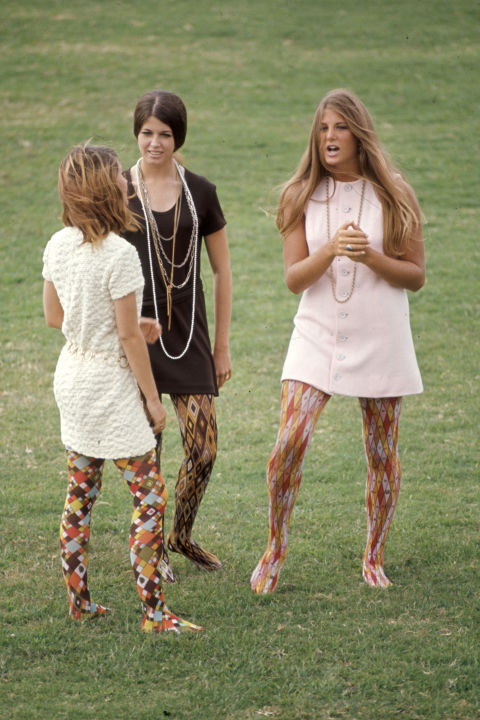 1960's -- Patterned Tights. Whoever thought that multi-colored, multi-patterned tights would flatter ANY HUMAN'S legs was seriously mistaken.
