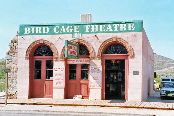 The Bird Cage Theater Make a Halloween trip from Tucson or Phoenix to Tombstone, Arizona, home of The Bird Cage Theater. One of the most popular and violent saloons in the 1880s, The Bird Cage Theater was the site of 26 murders. Over 140 bullet holes can still be found in the building structure and visitors have reported hearing voices and seeing visions of prostitutes and cowboys.