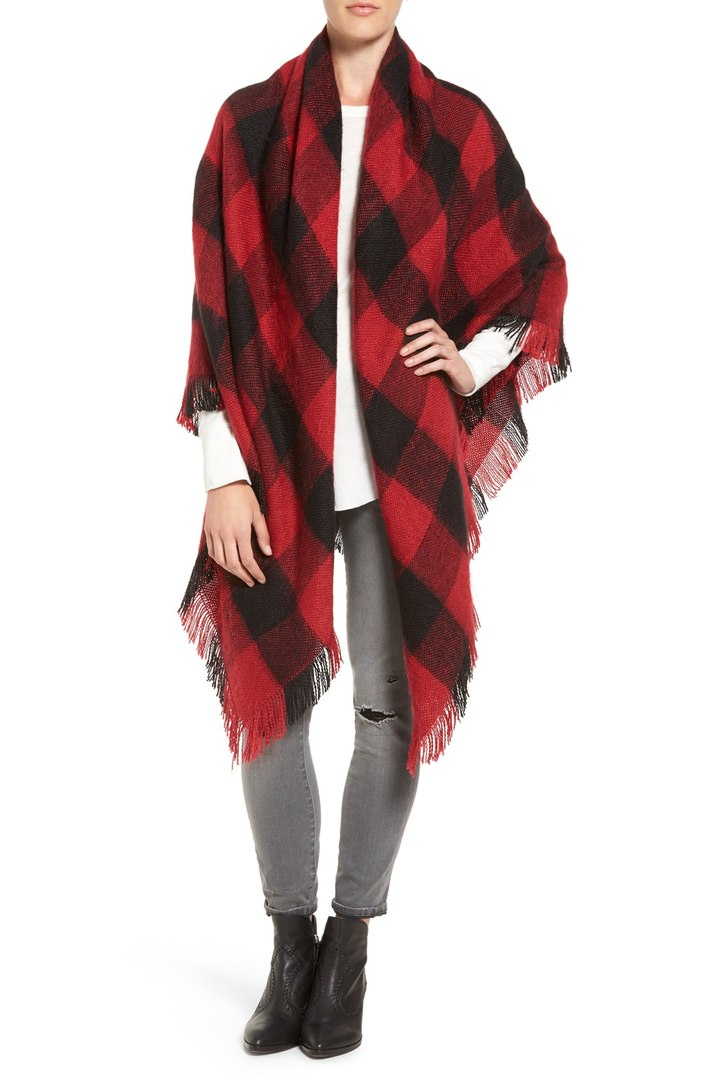 Treasure & Bond Buffalo Check Blanket Wrap (comes in 4 colors). $69.